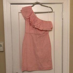 J. Crew Pink Seersucker One Shoulder Dress